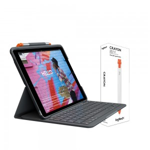 [BUNDLE] Logitech Slim Folio case with Integrated Bluetooth Keyboard & Pencil Holder for iPad 10.2 (7th & 8th Gen.) + Logitech Crayon
